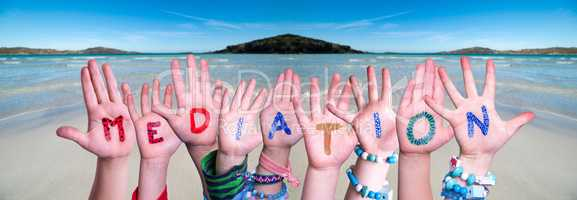 Children Hands Building Word Mediation, Ocean Background