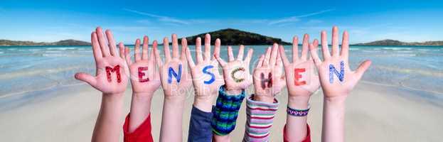 Children Hands Building Word Menschen Means Human, Ocean Background