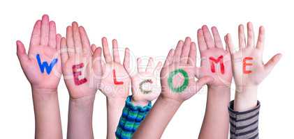Many Different Children Hands Building Word Welcome, Isolated Background
