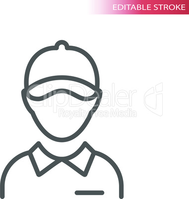 Employee with collar and hat thin line vector icon
