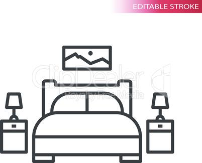 Bedroom furniture, home interior thin line vector icon set