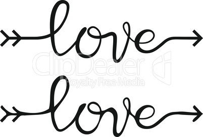Love lettering, handwritten text inscription
