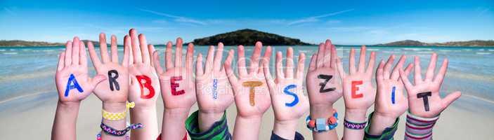 Children Hands Building Word Arbeitszeit Means Working Hours, Ocean Background