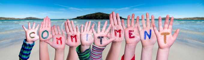 Children Hands Building Word Commitment, Ocean Background