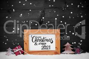 Frame, Gift, Tree, Snow, Snowflakes, Merry Christmas And A Happy 2021