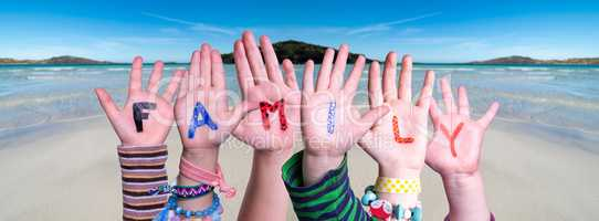 Children Hands Building Word Family, Ocean Background