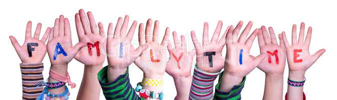 Children Hands Building Word Familytime, Isolated Background