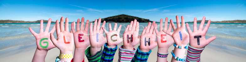 Children Hands Building Word Gleichheit Means Equality, Ocean Background