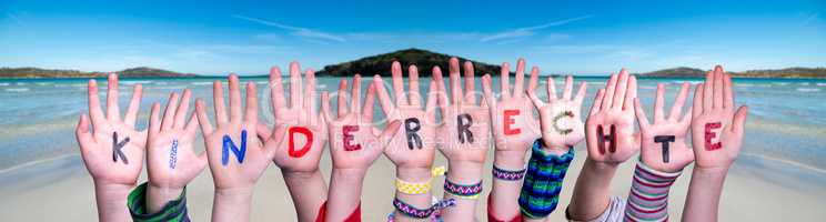 Children Hands Building Word Kinderrecht Means Children Rights, Ocean Background