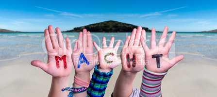 Children Hands Building Word Macht Means Power, Ocean Background
