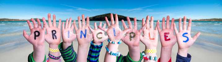Children Hands Building Word Principles, Ocean Background
