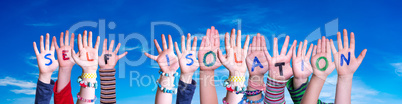Kids Hands Holding Word Self Isolation, Blue Sky