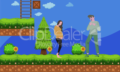 man walking with her pregnant wife in the garden