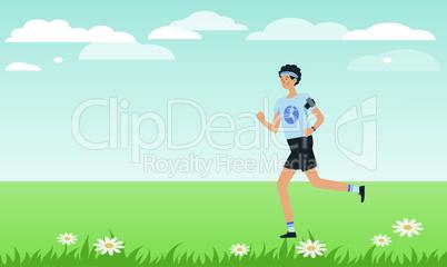 man is running in the garden