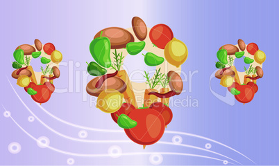 digital textile design of fruits and vegetables on abstract background