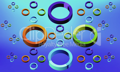 different size of rainbow circles on abstract background