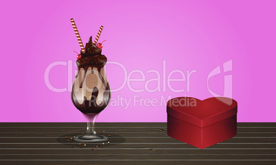mock up illustration of ice cream scoop on the table
