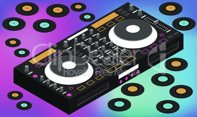 mock up illustration of song console on abstract background