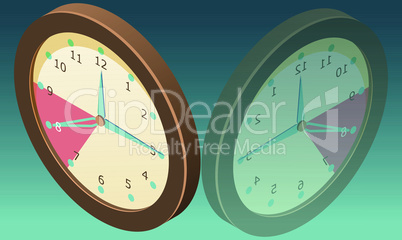 wall clock with mirror image on abstract background