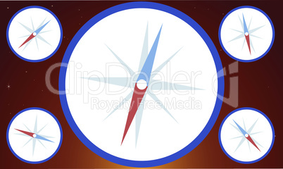 digital textile design of compass on abstract background