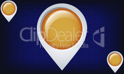 Location tag on abstract brick background
