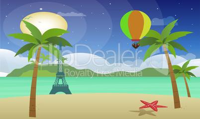 hot air balloon fly at sea above, star fish at beach
