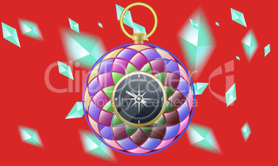 compass in rainbow color on diamonds red background