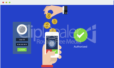 Secure Money Transfer with smartphone digital technology