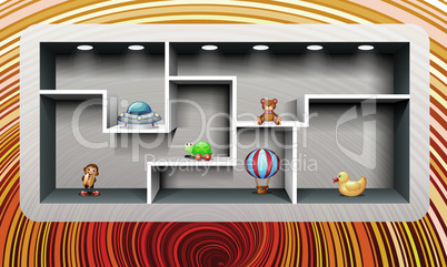toys are placed in a room on abstract background