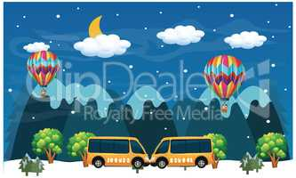 cars parked by snow hills, hot air balloons are flying