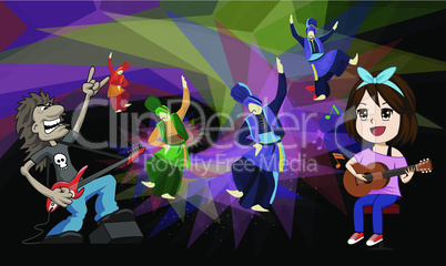 rock music and dance party on abstract background
