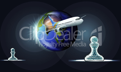 world and chess pawn travel on plane