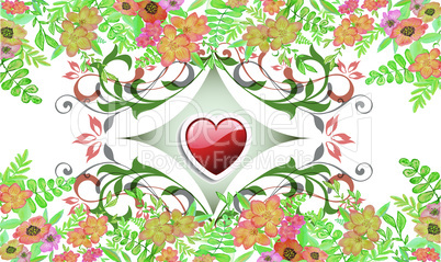 Red Heart of Abstract Design on floral Bed