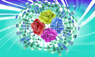 Collection of roses on abstract square design