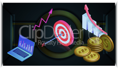 business target are shown on black surface