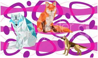 animals made up of different type of Triangles on art background