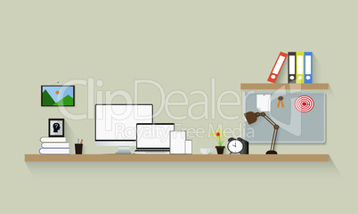 room illustration with mock up electronic devices