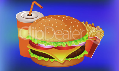 fast food snacks on dark abstract background