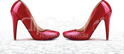 mock up illustration of female footwear on floor surface