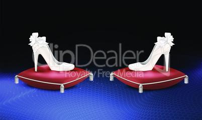 mock up illustration of luxury female footwear on cushion surface