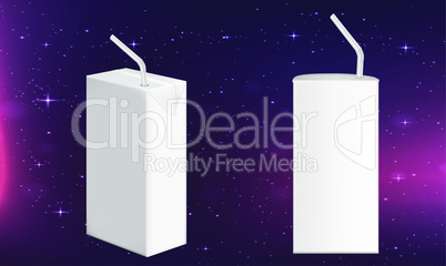 mock up illustration of drink package with straw on abstract background