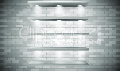 mock up illustration of wall shelves on wooden brick background