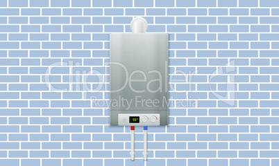 mock up illustration of digital water heater on brick wall background