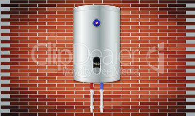 mock up illustration of kitchen water heater on red brick wall background