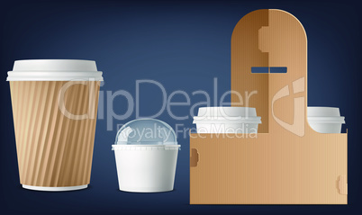 mock up illustration of shake and ice cream combo with package stand on abstract background