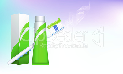 mock up illustration of tooth brush and paste package on abstract background