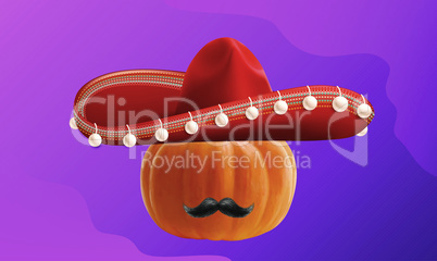 pumpkin wearing hat and mustache on abstract background