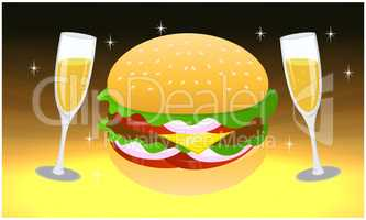 fast food and wine glass on abstract background
