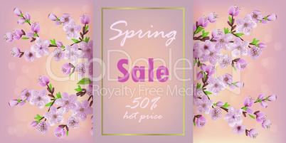 Sakura sale. Spring discount, pink cherry blossom flowers, floral garden decor for web voucher and banners.  EPS 10