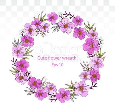 Cute wreath of pink flowers. greeting or buisiness card, wedding invitation, thank you note. Summer decor. flower wreath frames .EPS 10